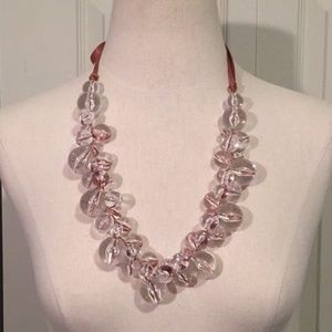 Clear Beaded Bubble Necklace With Ribbon Tie